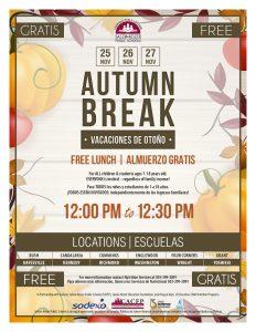 Autumn Break flyer for November 25-27