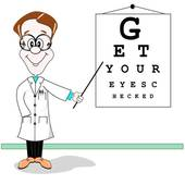 image of doctor and vision screening chart